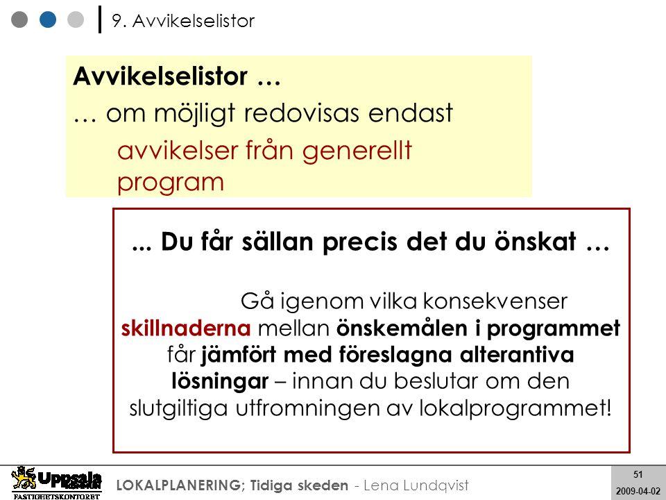 51 2008-05-21 51 2009-04-02 LOKALPLANERING; Tidiga skeden - Lena Lundqvist Avvikelselistor … … om möjligt redovisas endast avvikelser från generellt p
