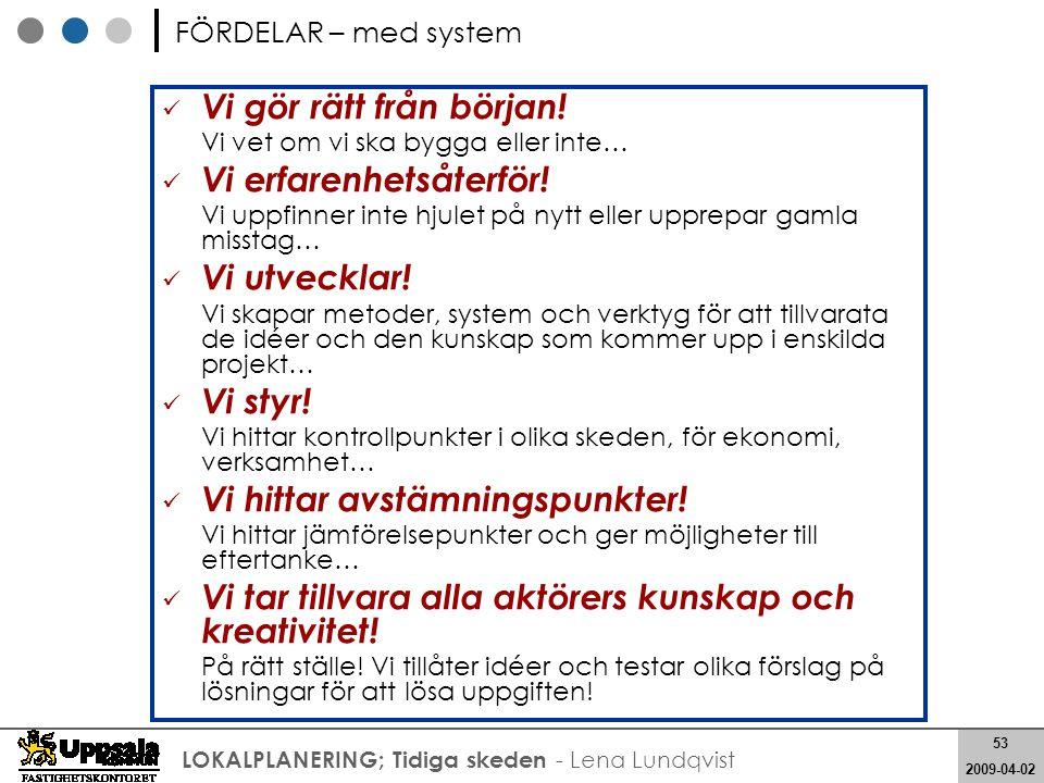 53 2008-05-21 53 2009-04-02 LOKALPLANERING; Tidiga skeden - Lena Lundqvist Vi gör rätt från början! Vi vet om vi ska bygga eller inte… Vi erfarenhetså