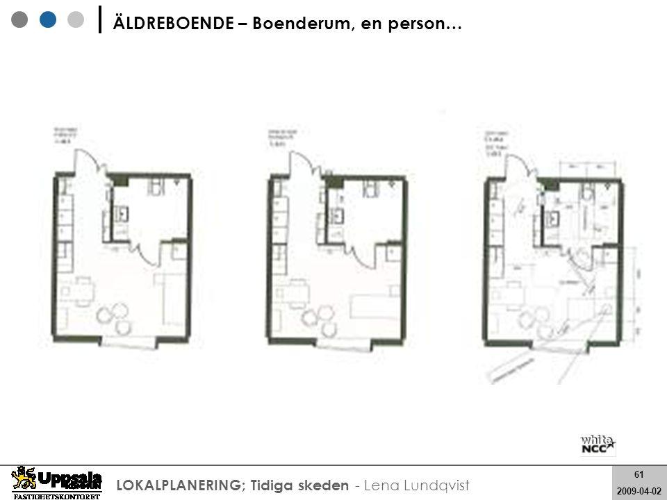 61 2008-05-21 61 2009-04-02 LOKALPLANERING; Tidiga skeden - Lena Lundqvist ÄLDREBOENDE – Boenderum, en person…