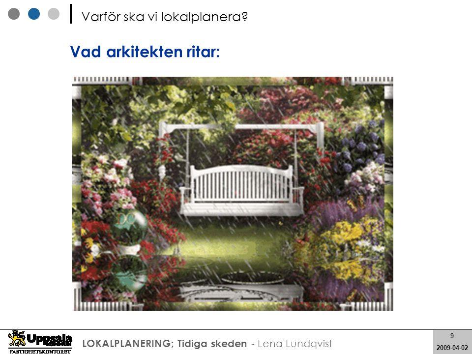 9 2008-05-21 9 2009-04-02 LOKALPLANERING; Tidiga skeden - Lena Lundqvist Vad arkitekten ritar: Varför ska vi lokalplanera?