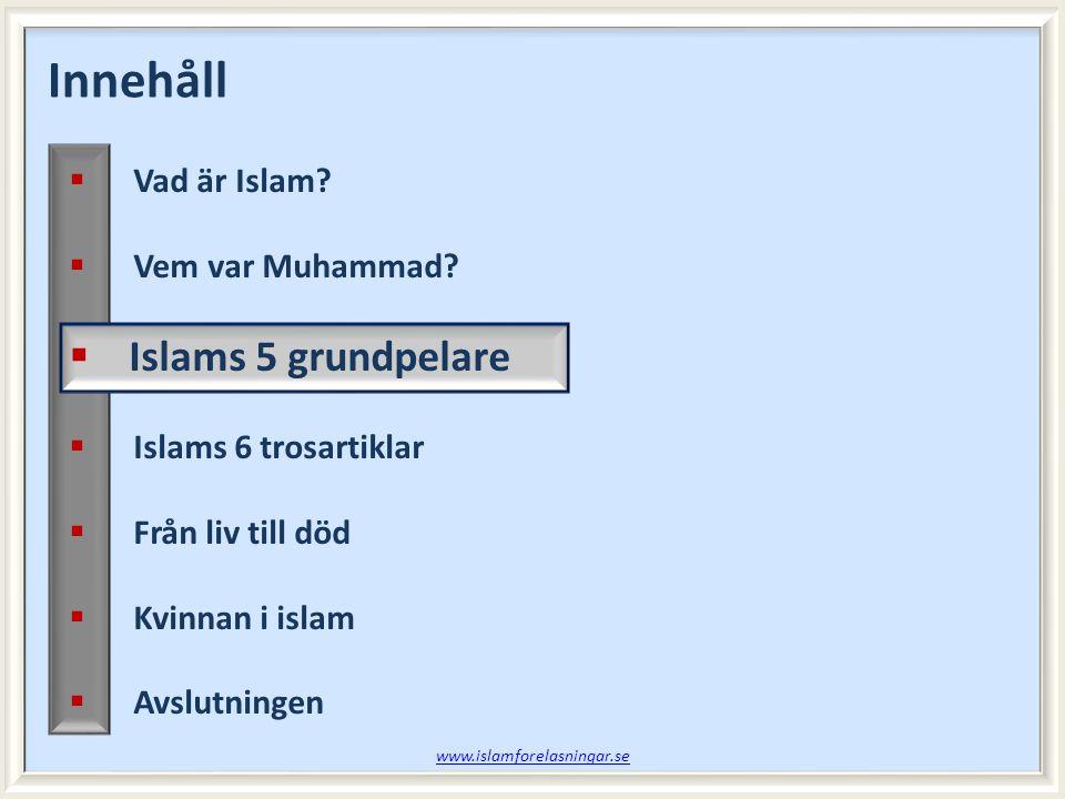 Vad lärde vi oss sist.Session 5  Vad vittnas om i islams trosbekännelse.