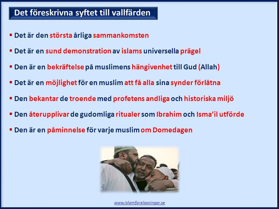 Det föreskrivna syftet till vallfärden www.islamforelasningar.se  Det är den största årliga sammankomsten  Det är en sund demonstration av islams un
