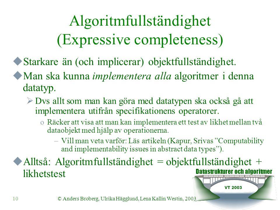 Datastrukturer och algoritmer VT 2003 10© Anders Broberg, Ulrika Hägglund, Lena Kallin Westin, 2003 Algoritmfullständighet (Expressive completeness)  Starkare än (och implicerar) objektfullständighet.