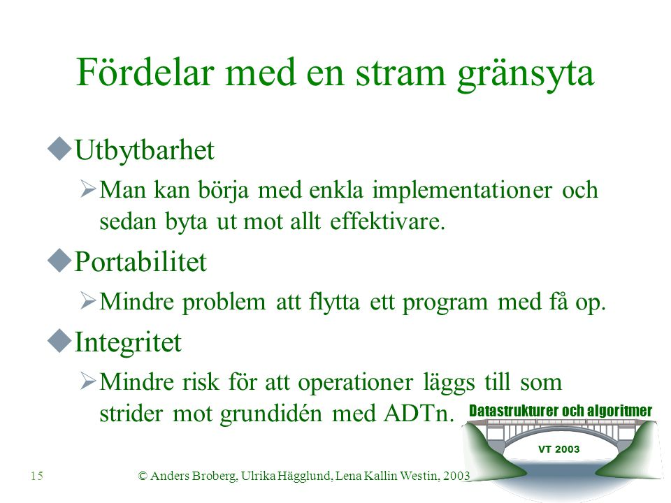 Datastrukturer och algoritmer VT 2003 15© Anders Broberg, Ulrika Hägglund, Lena Kallin Westin, 2003 Fördelar med en stram gränsyta  Utbytbarhet  Man kan börja med enkla implementationer och sedan byta ut mot allt effektivare.