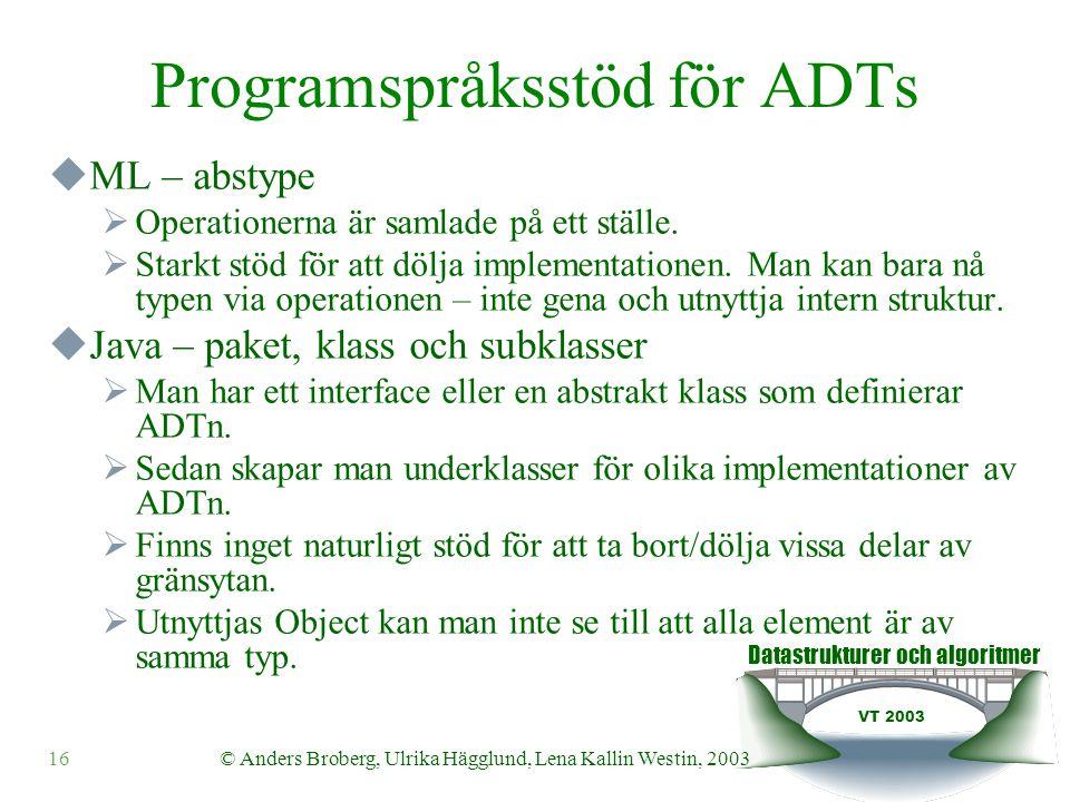 Datastrukturer och algoritmer VT 2003 16© Anders Broberg, Ulrika Hägglund, Lena Kallin Westin, 2003 Programspråksstöd för ADTs  ML – abstype  Operat