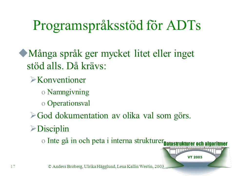 Datastrukturer och algoritmer VT 2003 17© Anders Broberg, Ulrika Hägglund, Lena Kallin Westin, 2003 Programspråksstöd för ADTs  Många språk ger mycke