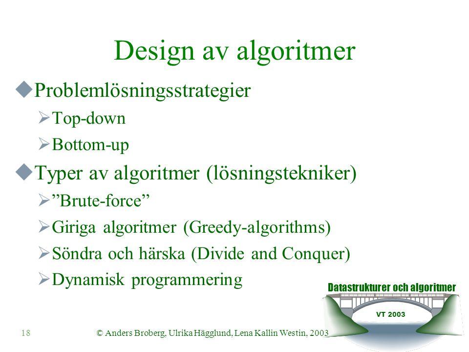 Datastrukturer och algoritmer VT 2003 18© Anders Broberg, Ulrika Hägglund, Lena Kallin Westin, 2003 Design av algoritmer  Problemlösningsstrategier  Top-down  Bottom-up  Typer av algoritmer (lösningstekniker)  Brute-force  Giriga algoritmer (Greedy-algorithms)  Söndra och härska (Divide and Conquer)  Dynamisk programmering