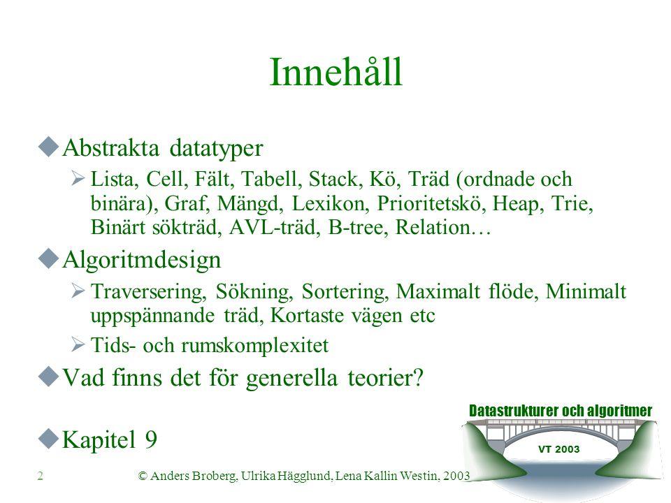 Datastrukturer och algoritmer VT 2003 2© Anders Broberg, Ulrika Hägglund, Lena Kallin Westin, 2003 Innehåll  Abstrakta datatyper  Lista, Cell, Fält,