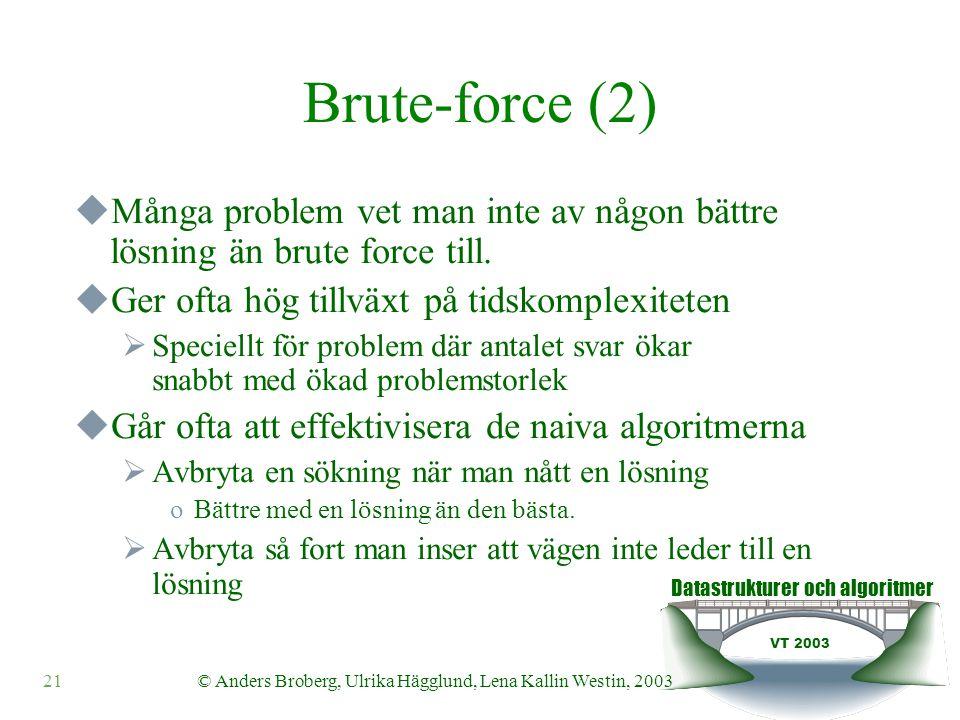 Datastrukturer och algoritmer VT 2003 21© Anders Broberg, Ulrika Hägglund, Lena Kallin Westin, 2003 Brute-force (2)  Många problem vet man inte av någon bättre lösning än brute force till.