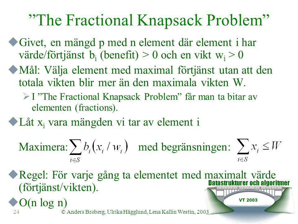 Datastrukturer och algoritmer VT 2003 24© Anders Broberg, Ulrika Hägglund, Lena Kallin Westin, 2003 The Fractional Knapsack Problem  Givet, en mängd p med n element där element i har värde/förtjänst b i (benefit) > 0 och en vikt w i > 0  Mål: Välja element med maximal förtjänst utan att den totala vikten blir mer än den maximala vikten W.