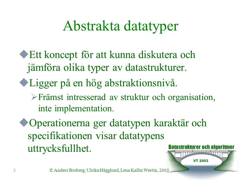Datastrukturer och algoritmer VT 2003 3© Anders Broberg, Ulrika Hägglund, Lena Kallin Westin, 2003 Abstrakta datatyper  Ett koncept för att kunna diskutera och jämföra olika typer av datastrukturer.