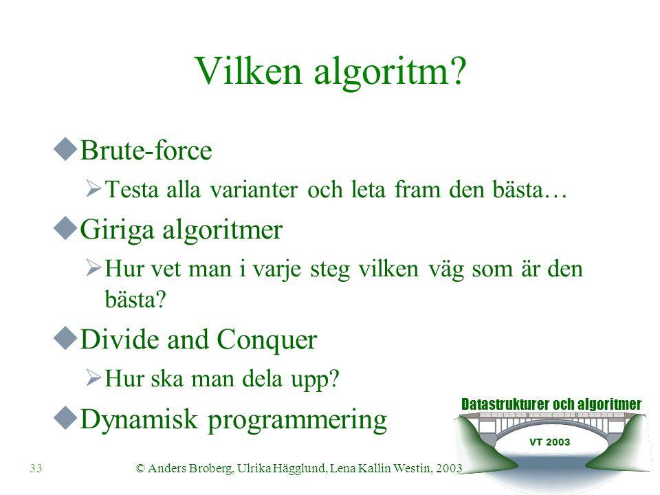 Datastrukturer och algoritmer VT 2003 33© Anders Broberg, Ulrika Hägglund, Lena Kallin Westin, 2003 Vilken algoritm?  Brute-force  Testa alla varian