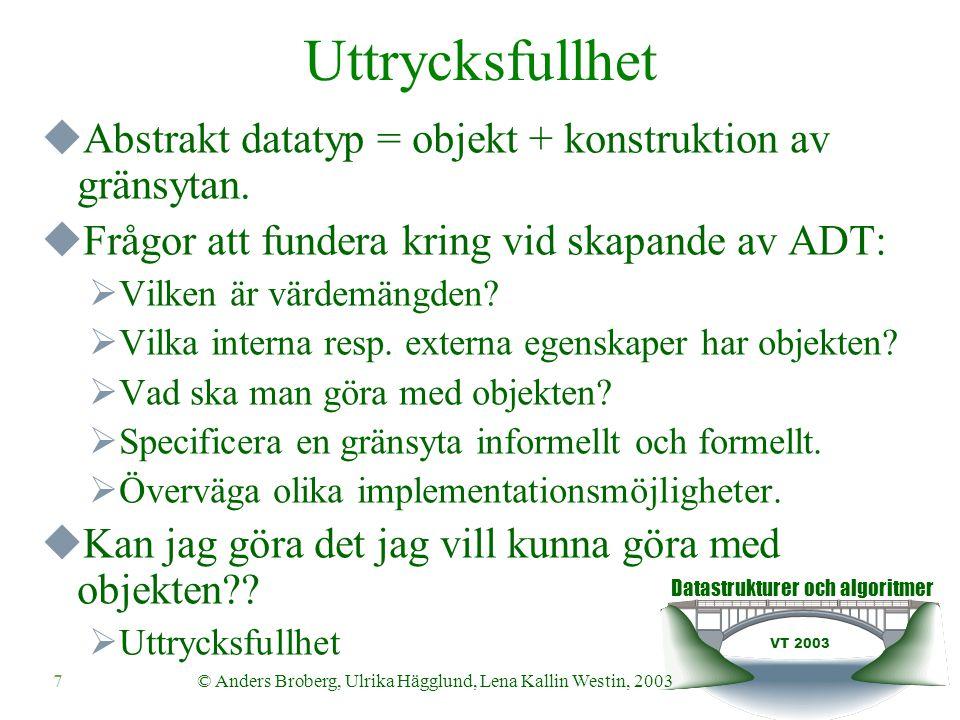 Datastrukturer och algoritmer VT 2003 8© Anders Broberg, Ulrika Hägglund, Lena Kallin Westin, 2003 Uttrycksfullhet  Datatypsspecifikationen har två roller:  Slå fast hur datatypen är beskaffad, vilka egenskaper den har.