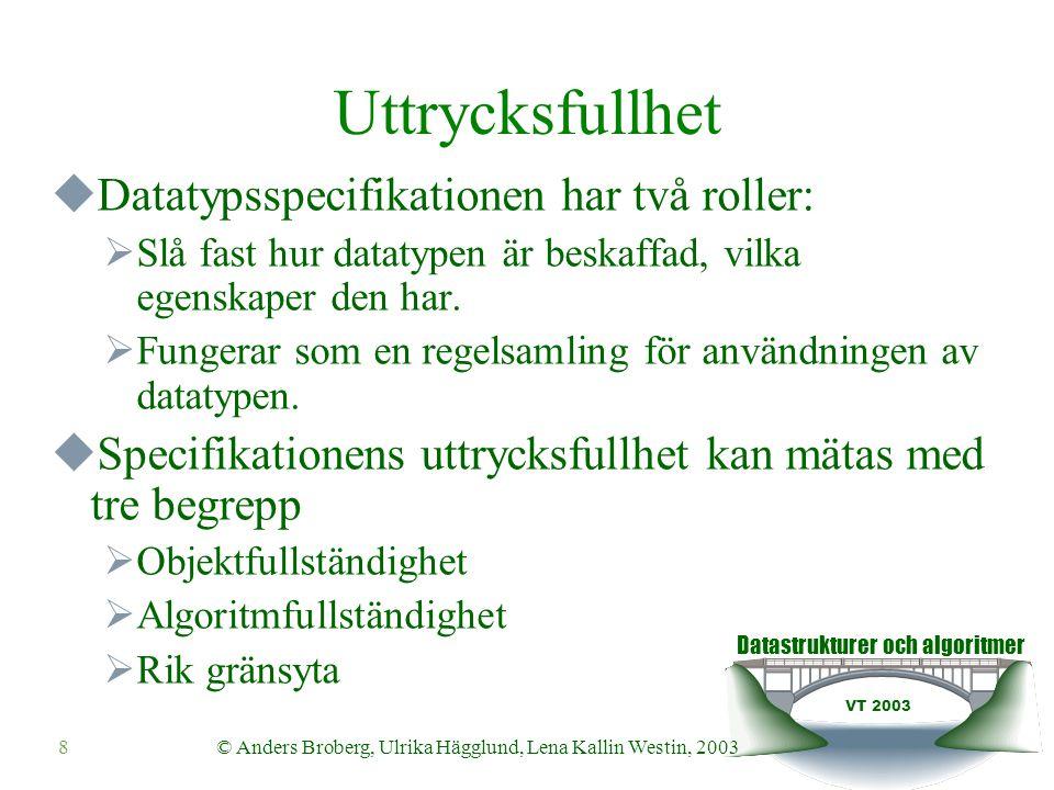 Datastrukturer och algoritmer VT 2003 8© Anders Broberg, Ulrika Hägglund, Lena Kallin Westin, 2003 Uttrycksfullhet  Datatypsspecifikationen har två r