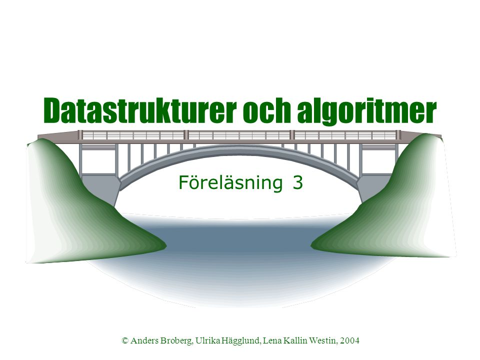 Datastrukturer och algoritmer VT 2004 © Anders Broberg, Ulrika Hägglund, Lena Kallin Westin, 2004 12 Tabell  Modell  Uppslagsbok  Organisation  Ändlig avbildning av argument på värden  Dynamisk datatyp