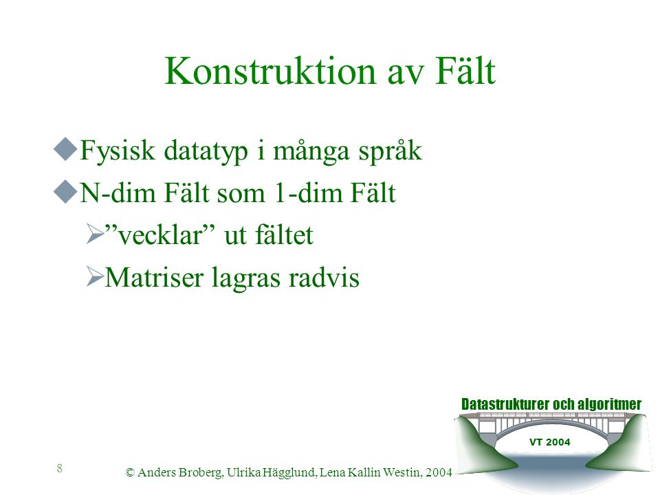 Datastrukturer och algoritmer VT 2004 © Anders Broberg, Ulrika Hägglund, Lena Kallin Westin, 2004 9 Fält som Lista  Vektorer kan konstrueras som Lista  Inte så effektiv  Matris kan konstrueras som Lista av listor