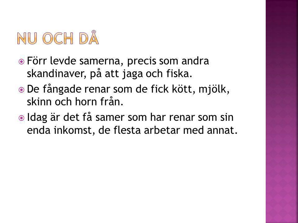  Förr levde samerna, precis som andra skandinaver, på att jaga och fiska.