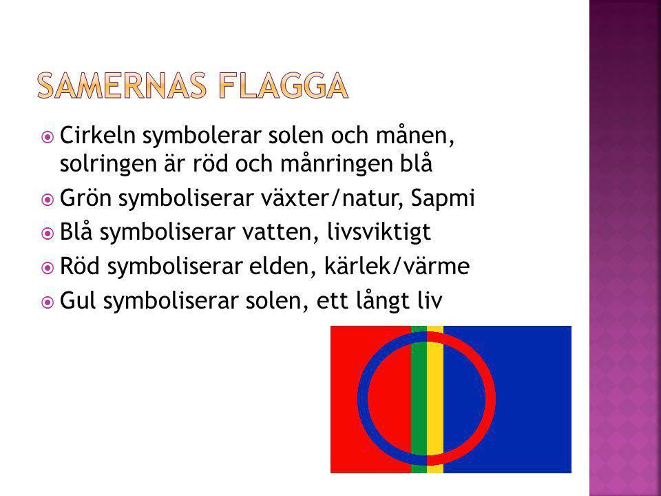  Cirkeln symbolerar solen och månen, solringen är röd och månringen blå  Grön symboliserar växter/natur, Sapmi  Blå symboliserar vatten, livsviktigt  Röd symboliserar elden, kärlek/värme  Gul symboliserar solen, ett långt liv