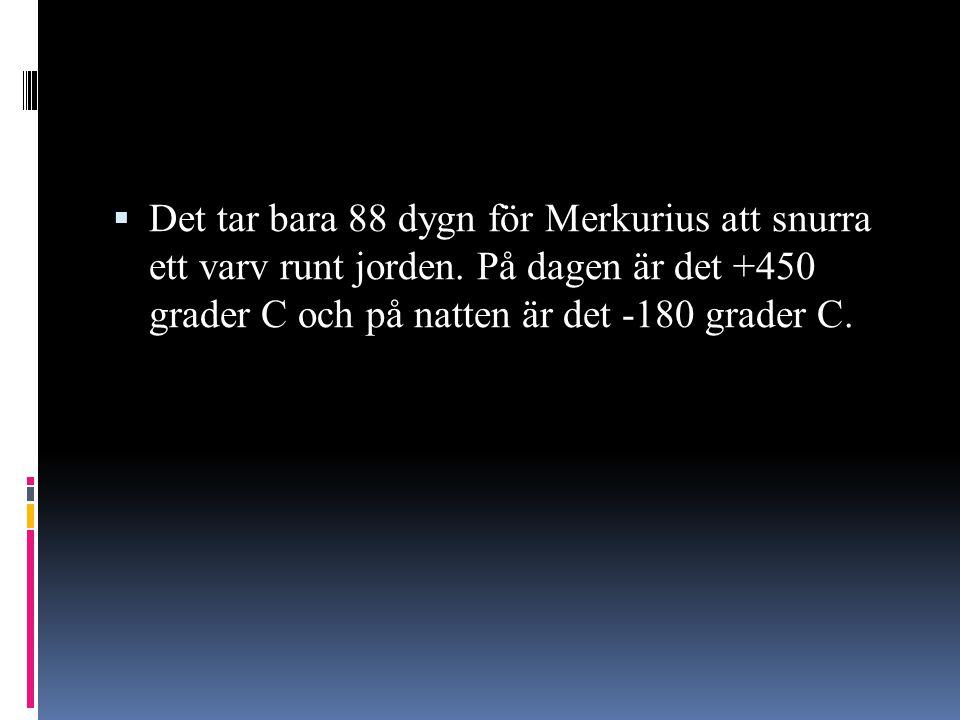  Det tar bara 88 dygn för Merkurius att snurra ett varv runt jorden. På dagen är det +450 grader C och på natten är det -180 grader C.