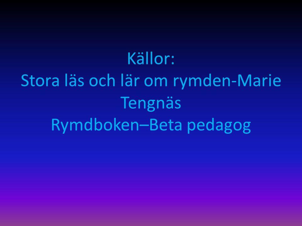 Källor: Stora läs och lär om rymden-Marie Tengnäs Rymdboken–Beta pedagog