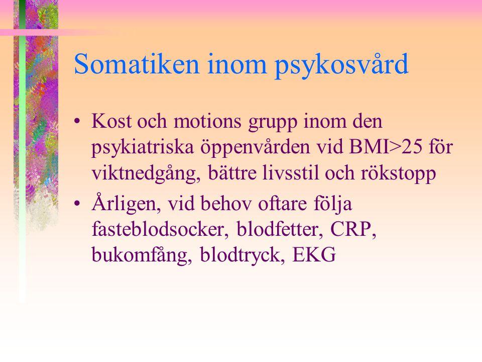 Somatiken inom psykosvård Kost och motions grupp inom den psykiatriska öppenvården vid BMI>25 för viktnedgång, bättre livsstil och rökstopp Årligen, v