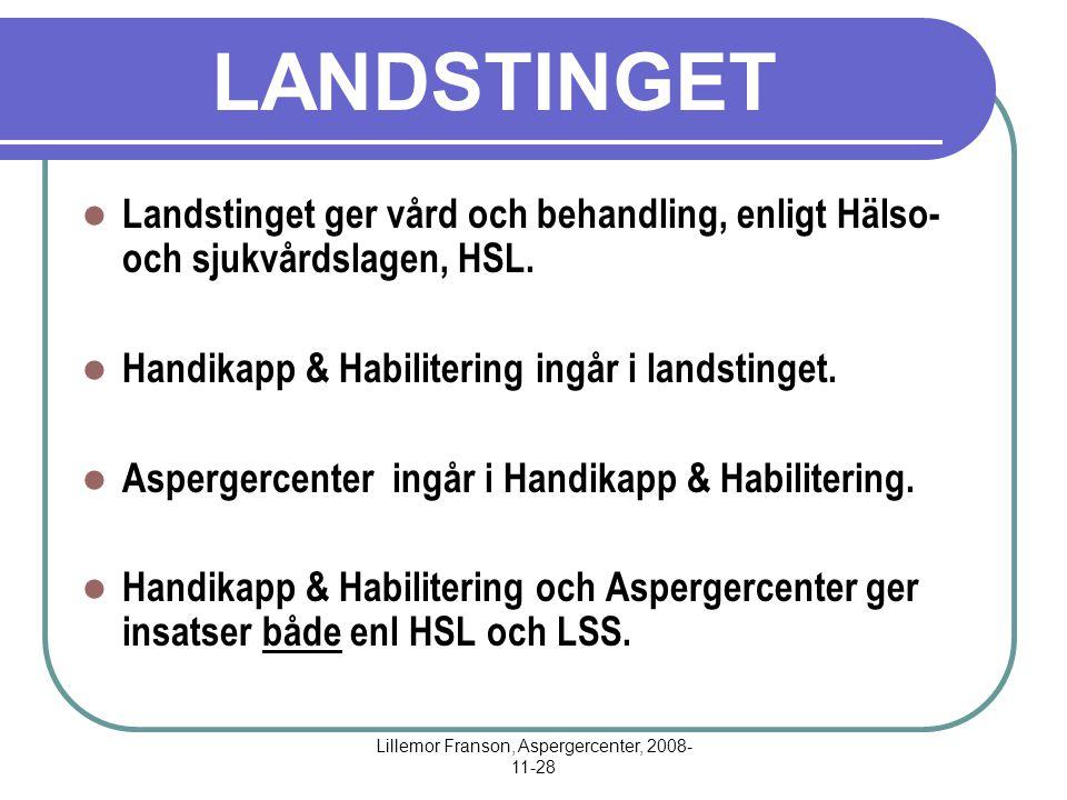 Lillemor Franson, Aspergercenter, 2008- 11-28 LANDSTINGET Landstinget ger vård och behandling, enligt Hälso- och sjukvårdslagen, HSL. Handikapp & Habi