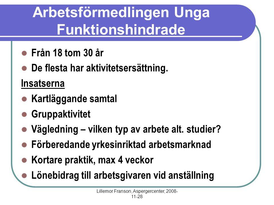 Lillemor Franson, Aspergercenter, 2008- 11-28 Arbetsförmedlingen Unga Funktionshindrade Från 18 tom 30 år De flesta har aktivitetsersättning.