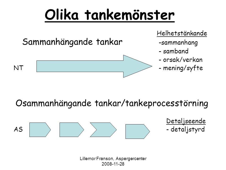 Lillemor Franson, Aspergercenter 2008-11-28 Olika tankemönster Helhetstänkande Sammanhängande tankar -sammanhang - samband - orsak/verkan NT - mening/