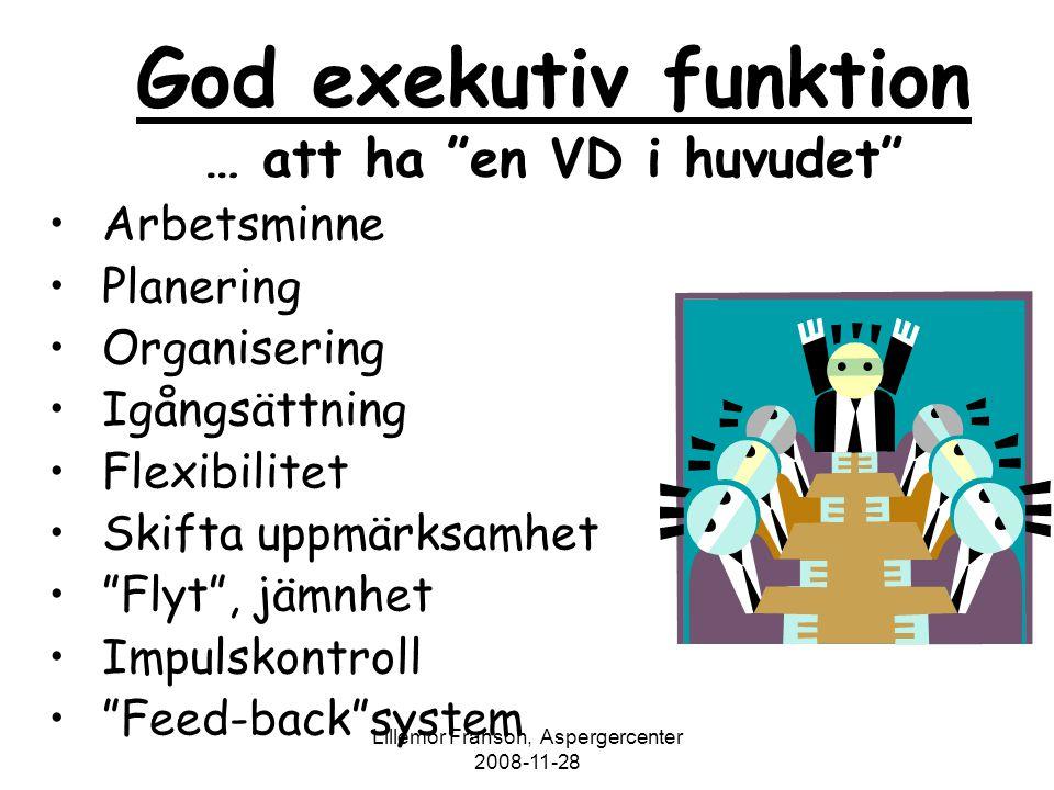 """Lillemor Franson, Aspergercenter 2008-11-28 God exekutiv funktion … att ha """"en VD i huvudet"""" Arbetsminne Planering Organisering Igångsättning Flexibil"""