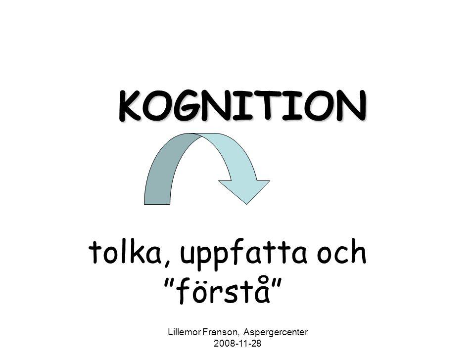 """Lillemor Franson, Aspergercenter 2008-11-28 KOGNITION tolka, uppfatta och """"förstå"""""""
