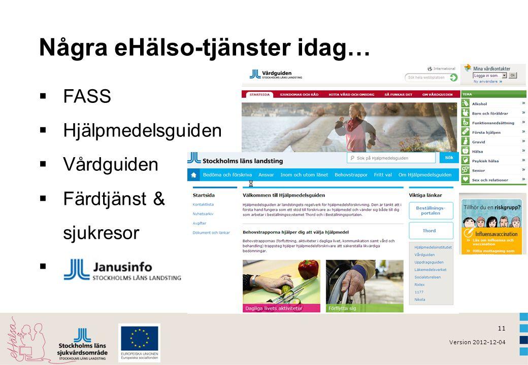 11 Version 2012-12-04 Några eHälso-tjänster idag…  FASS  Hjälpmedelsguiden  Vårdguiden  Färdtjänst & sjukresor 