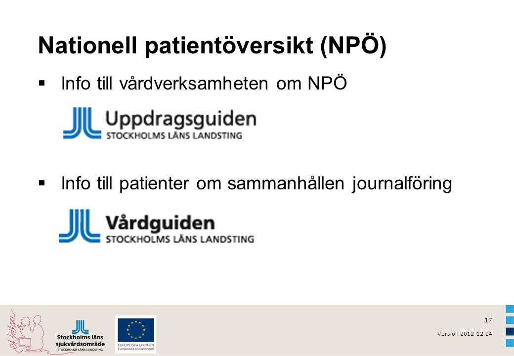 17 Version 2012-12-04 Nationell patientöversikt (NPÖ)  Info till vårdverksamheten om NPÖ  Info till patienter om sammanhållen journalföring