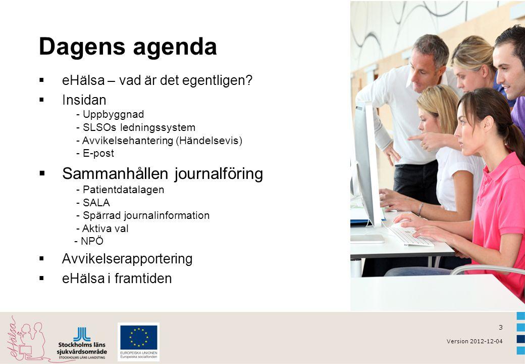 3 Version 2012-12-04 Dagens agenda  eHälsa – vad är det egentligen?  Insidan - Uppbyggnad - SLSOs ledningssystem - Avvikelsehantering (Händelsevis)