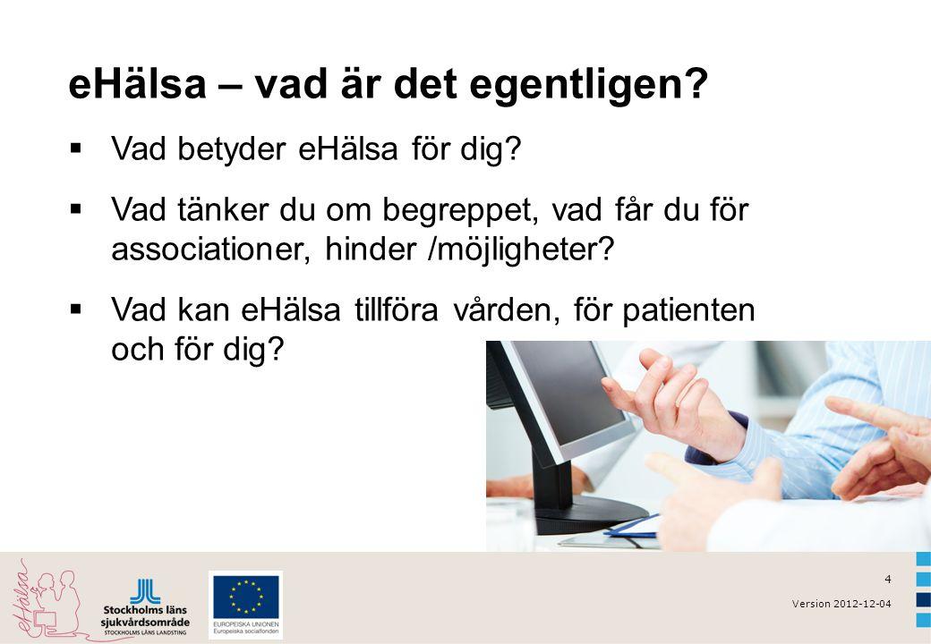 4 Version 2012-12-04 eHälsa – vad är det egentligen.