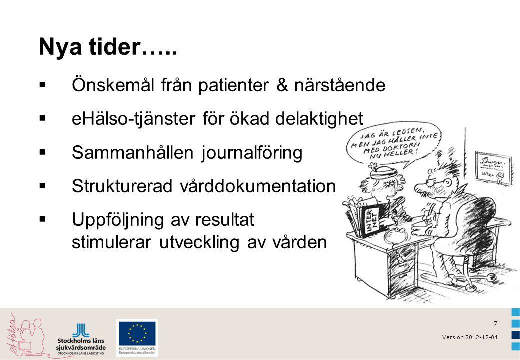 7 Version 2012-12-04 Nya tider…..  Önskemål från patienter & närstående  eHälso-tjänster för ökad delaktighet  Sammanhållen journalföring  Struktu