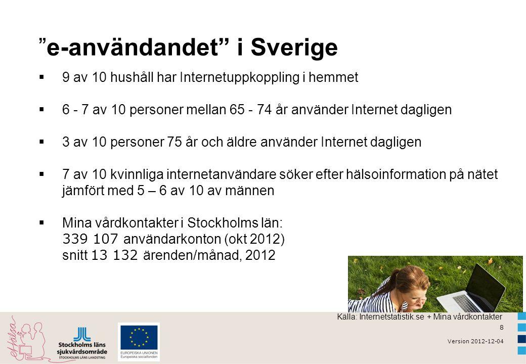 8 Version 2012-12-04 e-användandet i Sverige  9 av 10 hushåll har Internetuppkoppling i hemmet  6 - 7 av 10 personer mellan 65 - 74 år använder Internet dagligen  3 av 10 personer 75 år och äldre använder Internet dagligen  7 av 10 kvinnliga internetanvändare söker efter hälsoinformation på nätet jämfört med 5 – 6 av 10 av männen  Mina vårdkontakter i Stockholms län: 339 107 användarkonton (okt 2012) snitt 13 132 ärenden/månad, 2012 Källa: Internetstatistik.se + Mina vårdkontakter
