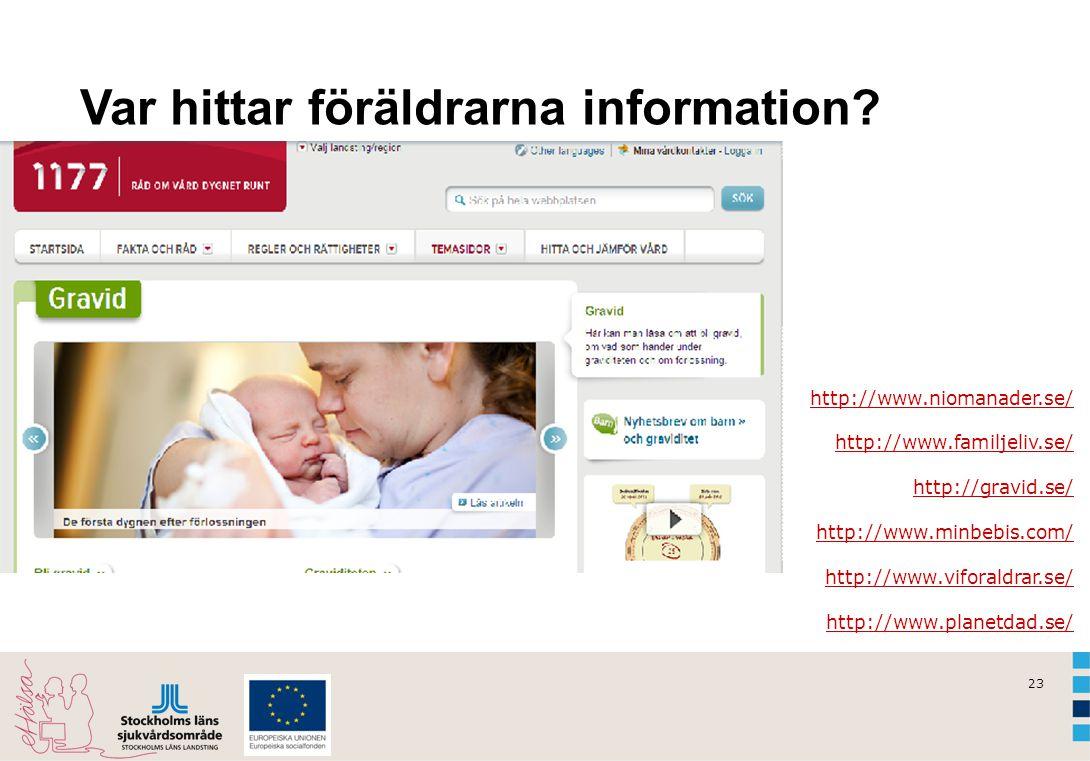 23 Var hittar föräldrarna information? http://www.niomanader.se/ http://www.familjeliv.se/ http://gravid.se/ http://www.minbebis.com/ http://www.vifor
