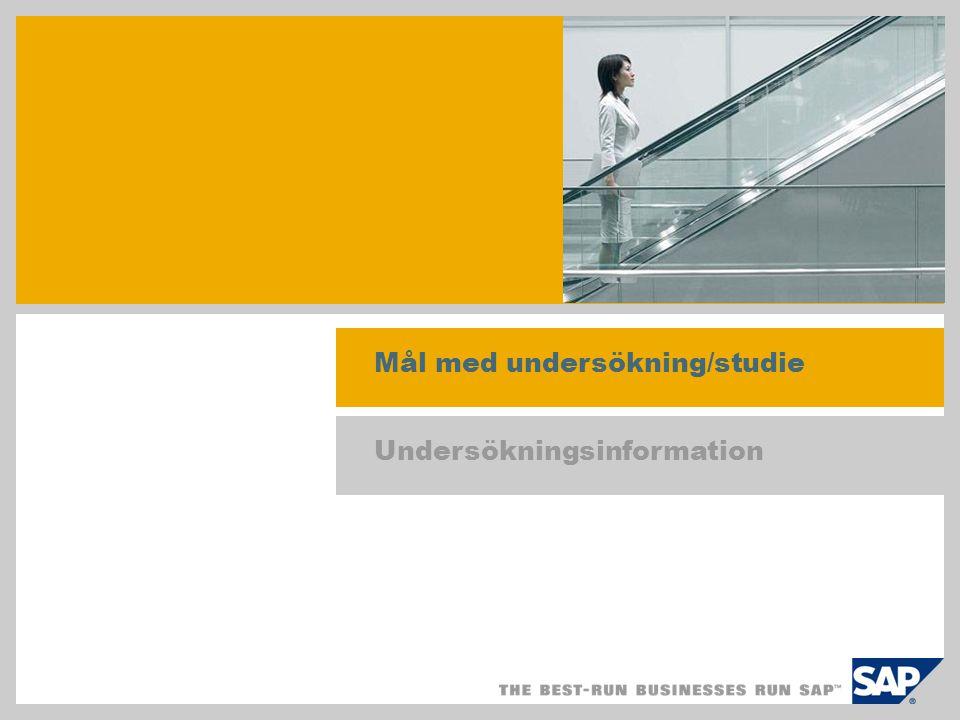 Undersökningsresultat Metodik och utvärderingsprocedur Frågeformulär enligt studie från 2004/2005, med uppföljande telefonintervjuer Syfte: utvärdera effekten av SAP Business All-in-One, SAP Best Practices för försäljnings- och implementeringsprojekt, liksom effekten för produktisering .