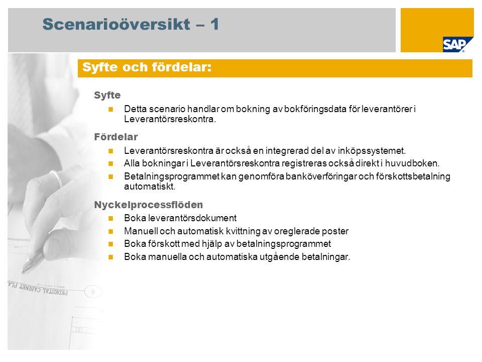 Scenarioöversikt – 1 Syfte Detta scenario handlar om bokning av bokföringsdata för leverantörer i Leverantörsreskontra. Fördelar Leverantörsreskontra