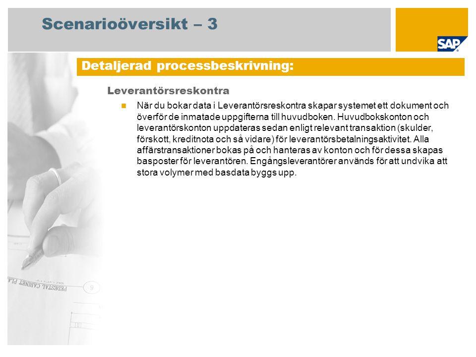 Scenarioöversikt – 3 Leverantörsreskontra När du bokar data i Leverantörsreskontra skapar systemet ett dokument och överför de inmatade uppgifterna ti