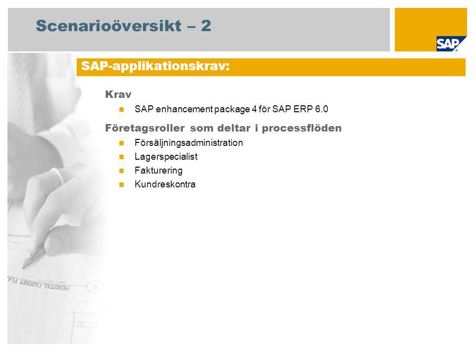 Scenarioöversikt – 2 Krav SAP enhancement package 4 för SAP ERP 6.0 Företagsroller som deltar i processflöden Försäljningsadministration Lagerspeciali