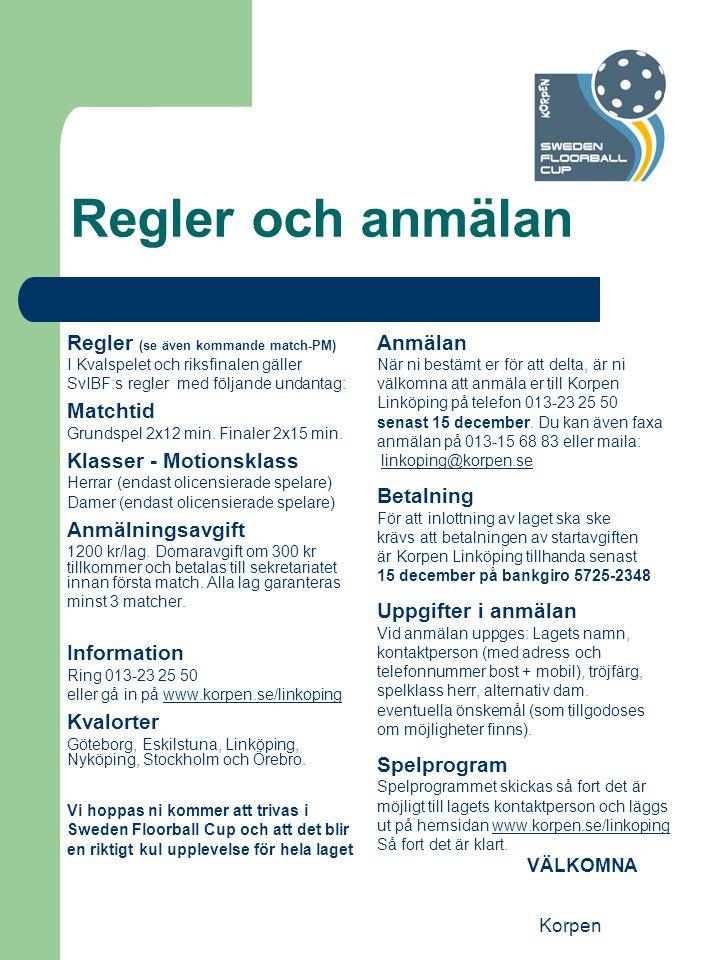 Korpen Regler och anmälan Regler (se även kommande match-PM) I Kvalspelet och riksfinalen gäller SvIBF:s regler med följande undantag: Matchtid Grundspel 2x12 min.
