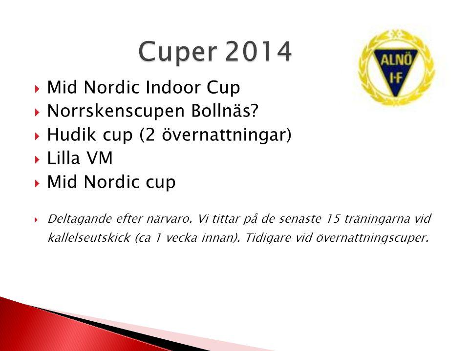  Mid Nordic Indoor Cup  Norrskenscupen Bollnäs?  Hudik cup (2 övernattningar)  Lilla VM  Mid Nordic cup  Deltagande efter närvaro. Vi tittar på