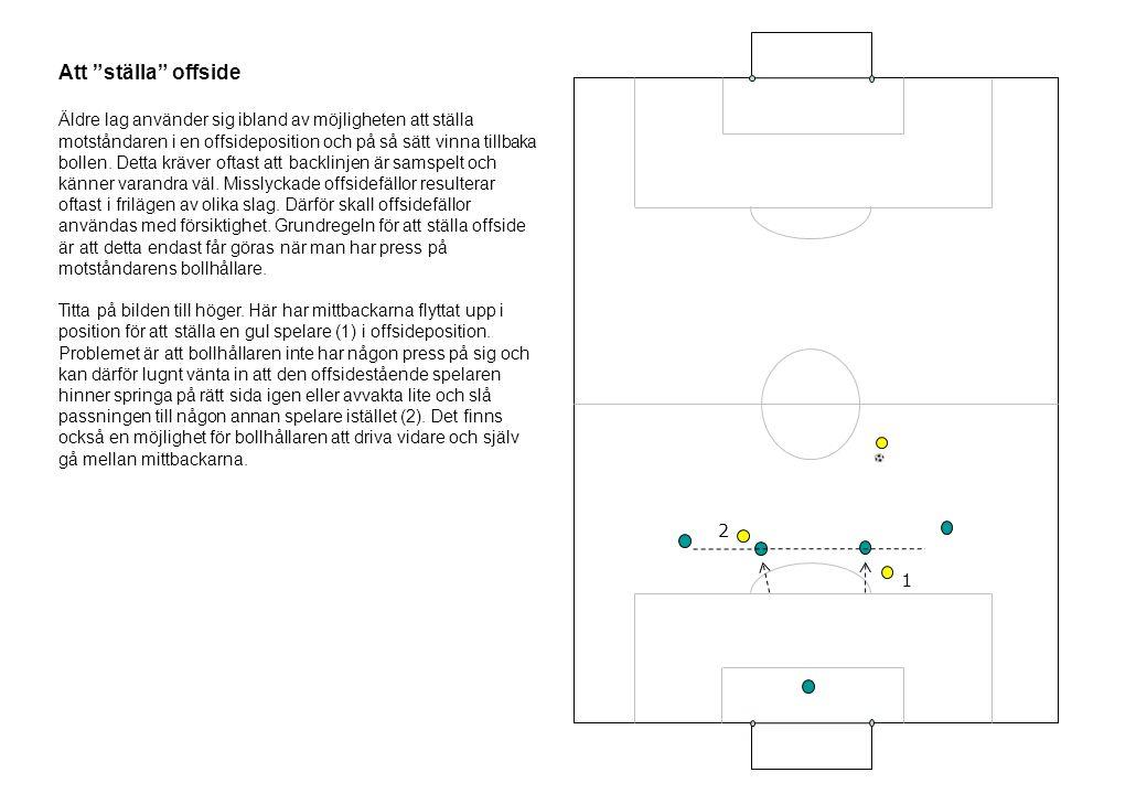 """Att """"ställa"""" offside Äldre lag använder sig ibland av möjligheten att ställa motståndaren i en offsideposition och på så sätt vinna tillbaka bollen. D"""
