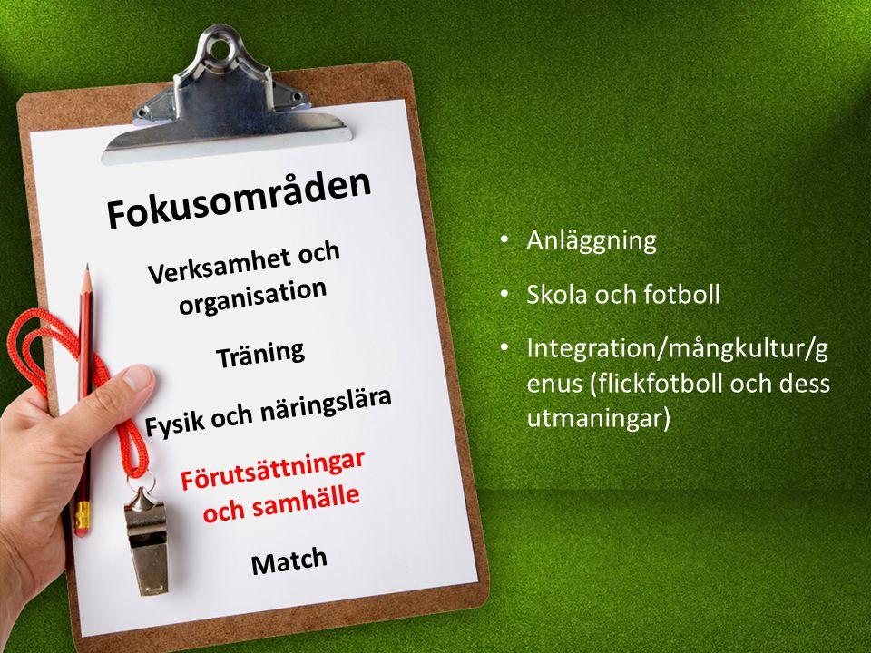 Fokusområden Verksamhet och organisation Träning Fysik och näringslära Förutsättningar och samhälle Match Anläggning Skola och fotboll Integration/mångkultur/g enus (flickfotboll och dess utmaningar)