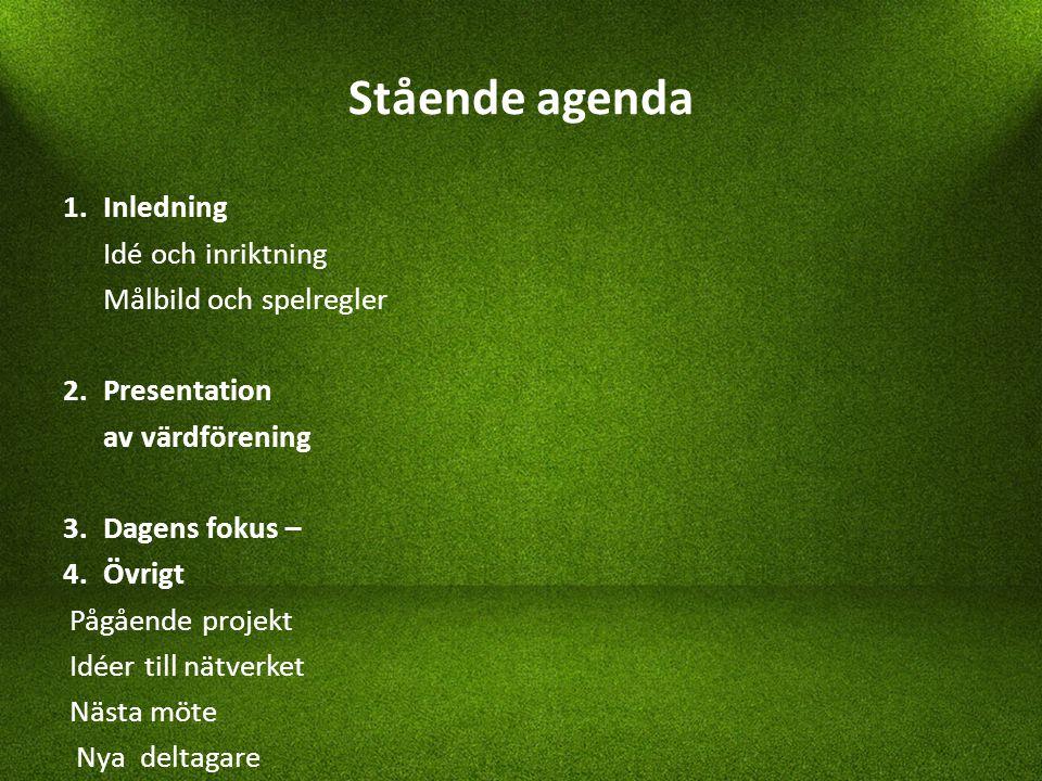 Stående agenda 1. Inledning Idé och inriktning Målbild och spelregler 2.