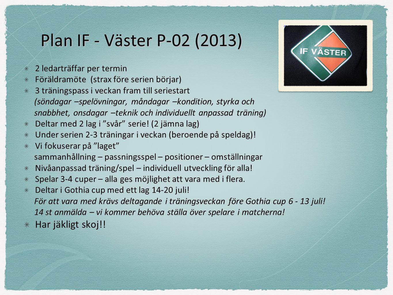 Plan IF - Väster P-02 (2013) 2 ledarträffar per termin Föräldramöte (strax före serien börjar) 3 träningspass i veckan fram till seriestart (söndagar