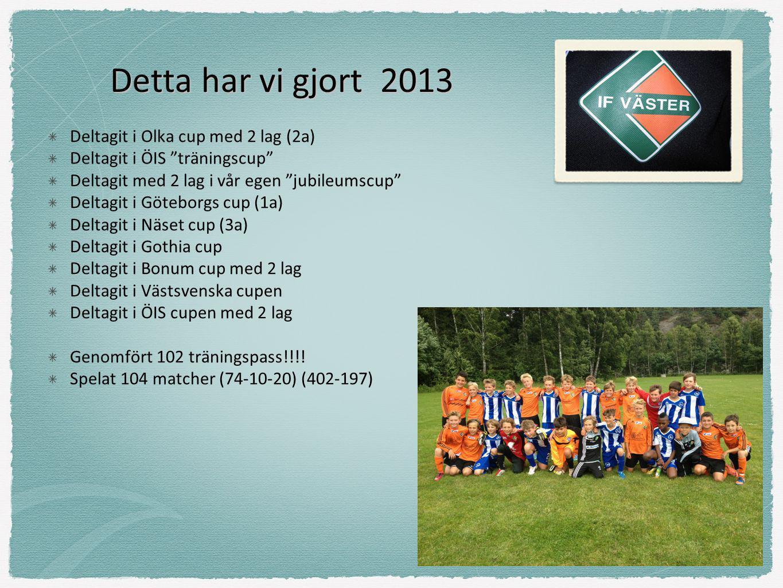 """Detta har vi gjort 2013 Deltagit i Olka cup med 2 lag (2a) Deltagit i ÖIS """"träningscup"""" Deltagit med 2 lag i vår egen """"jubileumscup"""" Deltagit i Götebo"""