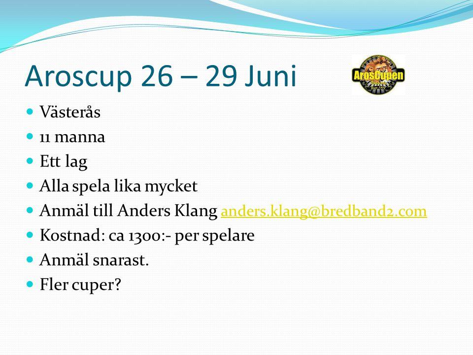 Aroscup 26 – 29 Juni Västerås 11 manna Ett lag Alla spela lika mycket Anmäl till Anders Klang anders.klang@bredband2.com anders.klang@bredband2.com Ko