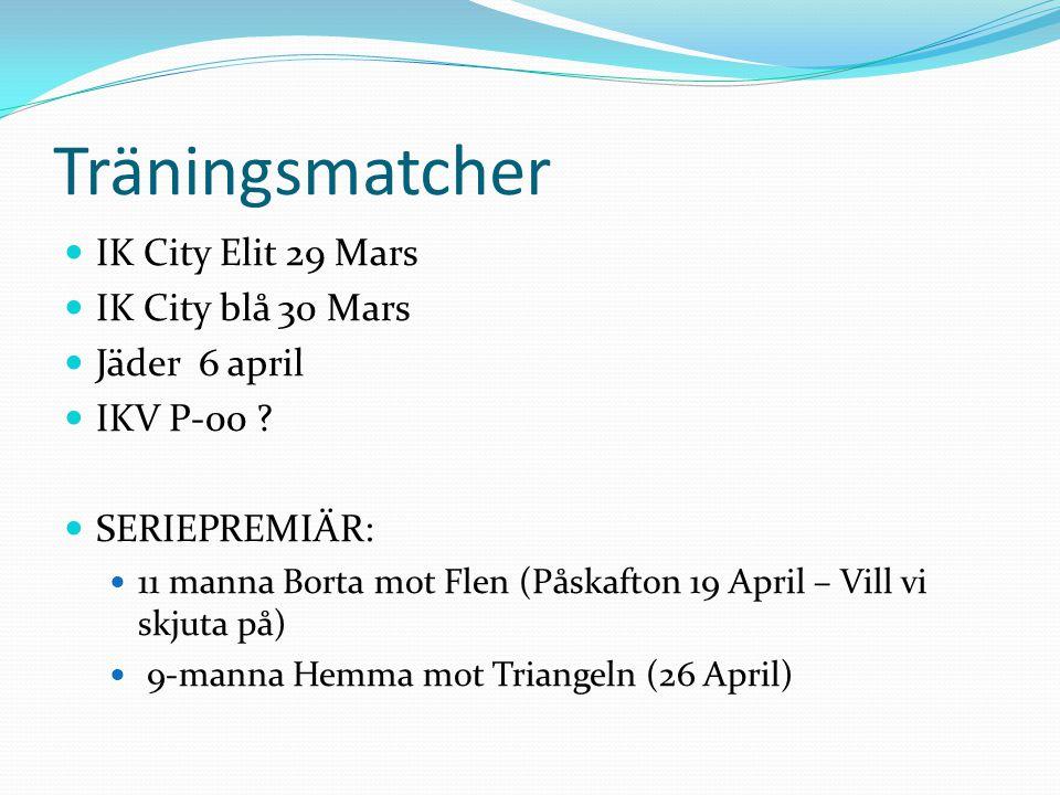 Träningsmatcher IK City Elit 29 Mars IK City blå 30 Mars Jäder 6 april IKV P-00 ? SERIEPREMIÄR: 11 manna Borta mot Flen (Påskafton 19 April – Vill vi
